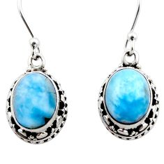 8.22cts natural blue larimar 925 sterling silver dangle earrings jewelry r53062