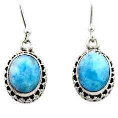 7.88cts natural blue larimar 925 sterling silver dangle earrings jewelry r53063