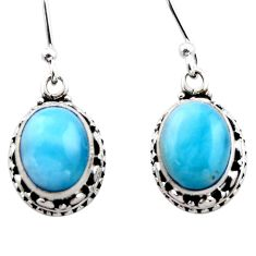 8.43cts natural blue larimar 925 sterling silver dangle earrings jewelry r53066