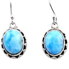 8.44cts natural blue larimar 925 sterling silver dangle earrings jewelry r53067