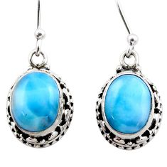 7.97cts natural blue larimar 925 sterling silver dangle earrings jewelry r53069