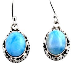 8.22cts natural blue larimar 925 sterling silver dangle earrings jewelry r53070