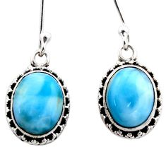 7.91cts natural blue larimar 925 sterling silver dangle earrings jewelry r53072