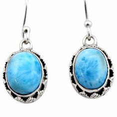 8.23cts natural blue larimar 925 sterling silver dangle earrings jewelry r53073