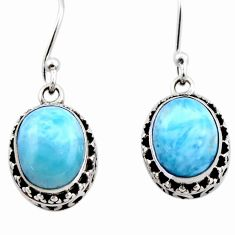 7.97cts natural blue larimar 925 sterling silver dangle earrings jewelry r53075