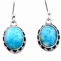 7.88cts natural blue larimar 925 sterling silver dangle earrings jewelry r53076