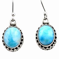 8.23cts natural blue larimar 925 sterling silver dangle earrings jewelry r53078