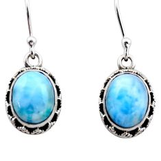 8.25cts natural blue larimar 925 sterling silver dangle earrings jewelry r53079