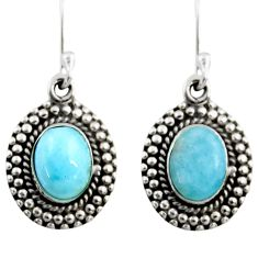 4.07cts natural blue larimar 925 sterling silver dangle earrings jewelry r53986