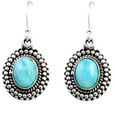 4.10cts natural blue larimar 925 sterling silver dangle earrings jewelry r53987