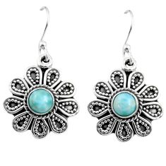 1.43cts natural blue larimar 925 sterling silver dangle earrings jewelry r54013