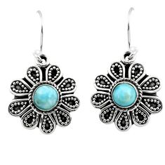 1.42cts natural blue larimar 925 sterling silver dangle earrings jewelry r54014