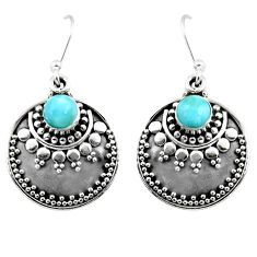 1.68cts natural blue larimar 925 sterling silver dangle earrings jewelry r54025