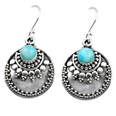 1.61cts natural blue larimar 925 sterling silver dangle earrings jewelry r54026