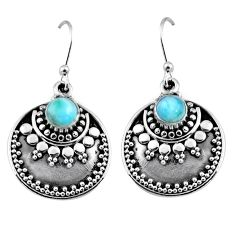 1.64cts natural blue larimar 925 sterling silver dangle earrings jewelry r54027