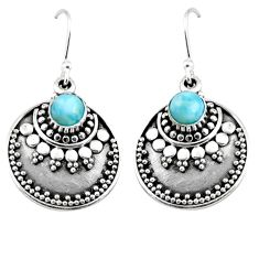 1.63cts natural blue larimar 925 sterling silver dangle earrings jewelry r54028