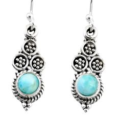 1.44cts natural blue larimar 925 sterling silver dangle earrings jewelry r54045