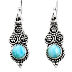 1.33cts natural blue larimar 925 sterling silver dangle earrings jewelry r54046