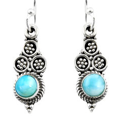 1.45cts natural blue larimar 925 sterling silver dangle earrings jewelry r54049