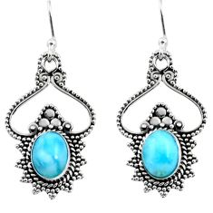 4.05cts natural blue larimar 925 sterling silver dangle earrings jewelry r54065