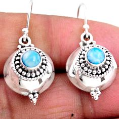 1.20cts natural blue larimar 925 sterling silver dangle earrings jewelry r54103