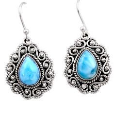 5.30cts natural blue larimar 925 sterling silver dangle earrings jewelry r54127