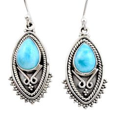 4.73cts natural blue larimar 925 sterling silver dangle earrings jewelry r54161