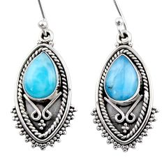 4.52cts natural blue larimar 925 sterling silver dangle earrings jewelry r54162