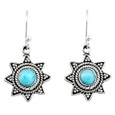 1.00cts natural blue larimar 925 sterling silver dangle earrings jewelry r54201