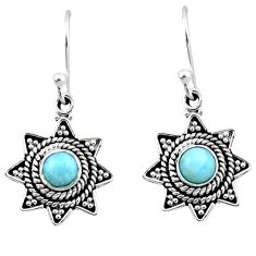 1.01cts natural blue larimar 925 sterling silver dangle earrings jewelry r54202