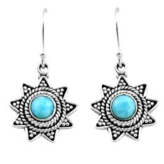 0.97cts natural blue larimar 925 sterling silver dangle earrings jewelry r54203