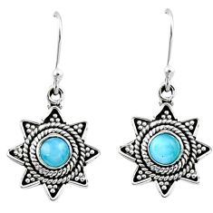 0.97cts natural blue larimar 925 sterling silver dangle earrings jewelry r54205