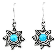 0.97cts natural blue larimar 925 sterling silver dangle earrings jewelry r54206