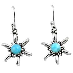 0.99cts natural blue larimar 925 sterling silver dangle earrings jewelry r54222