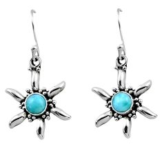 0.97cts natural blue larimar 925 sterling silver dangle earrings jewelry r54223