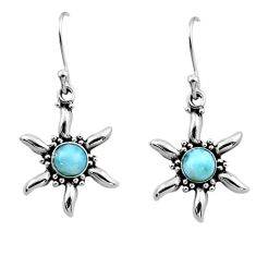 0.97cts natural blue larimar 925 sterling silver dangle earrings jewelry r54225