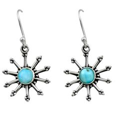 1.16cts natural blue larimar 925 sterling silver dangle earrings jewelry r54241