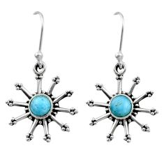 1.22cts natural blue larimar 925 sterling silver dangle earrings jewelry r54242