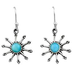 1.22cts natural blue larimar 925 sterling silver dangle earrings jewelry r54245