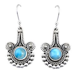 2.68cts natural blue larimar 925 sterling silver dangle earrings jewelry r55284