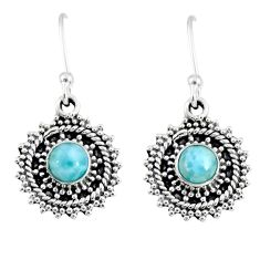 2.22cts natural blue larimar 925 sterling silver dangle earrings jewelry r55332