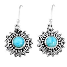 2.14cts natural blue larimar 925 sterling silver dangle earrings jewelry r55333