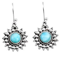2.21cts natural blue larimar 925 sterling silver dangle earrings jewelry r55336