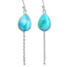 10.15cts natural blue larimar 925 sterling silver dangle earrings jewelry r63522