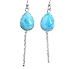 10.15cts natural blue larimar 925 sterling silver dangle earrings jewelry r63529