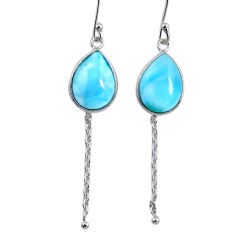 10.15cts natural blue larimar 925 sterling silver dangle earrings jewelry r63540