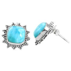 5.92cts natural blue larimar 925 sterling silver stud earrings jewelry r67026