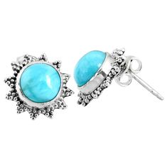 5.54cts natural blue larimar 925 sterling silver stud earrings jewelry r67027