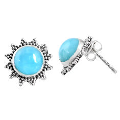 5.54cts natural blue larimar 925 sterling silver stud earrings jewelry r67030