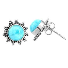 5.54cts natural blue larimar 925 sterling silver stud earrings jewelry r67031